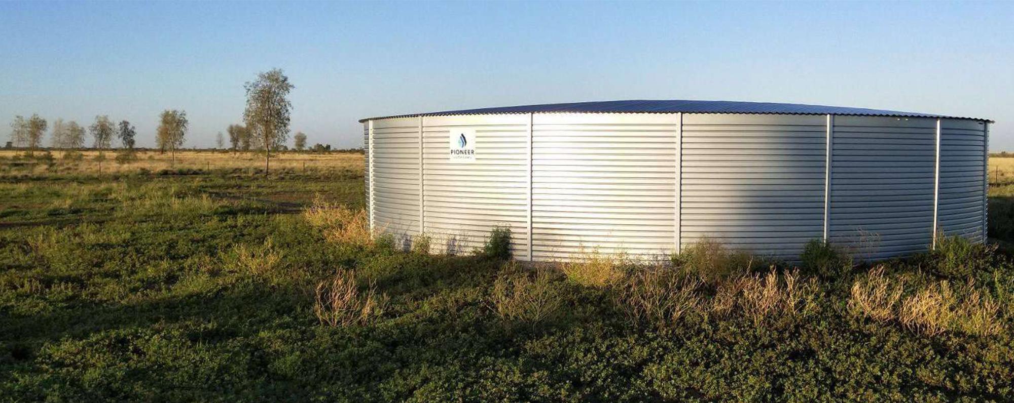 pioneer water tank in field