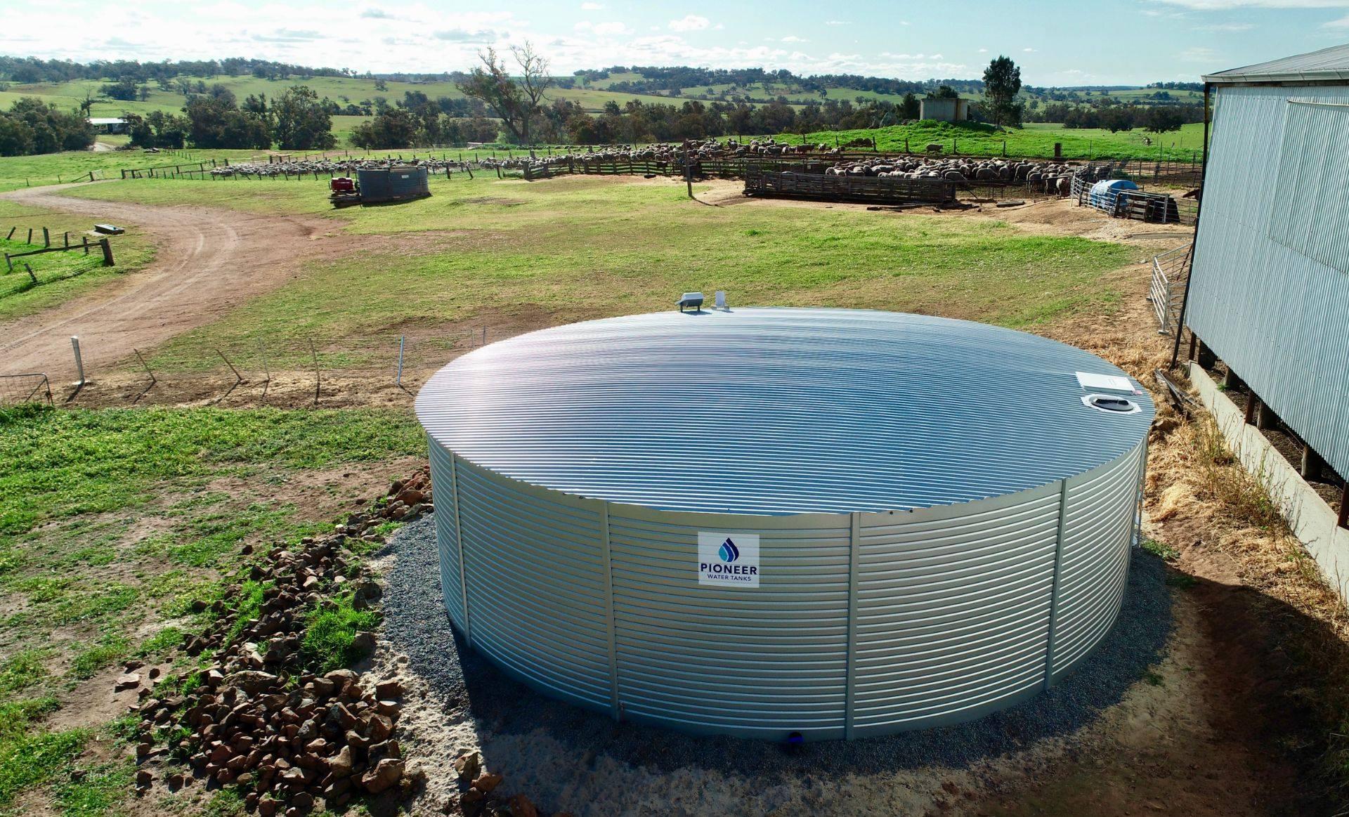 Pioneer rainwater tank on a farm